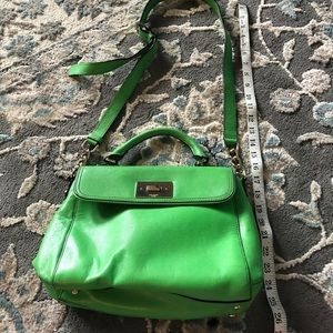 Kate spade green leather bag with crossbody strap